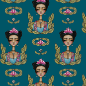 Frida Kahlo Pattern - Teal