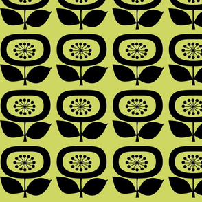Mid Century Modern Flower 1 on Avocado