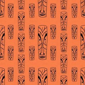 Mid Century Modern Tikis on Orange