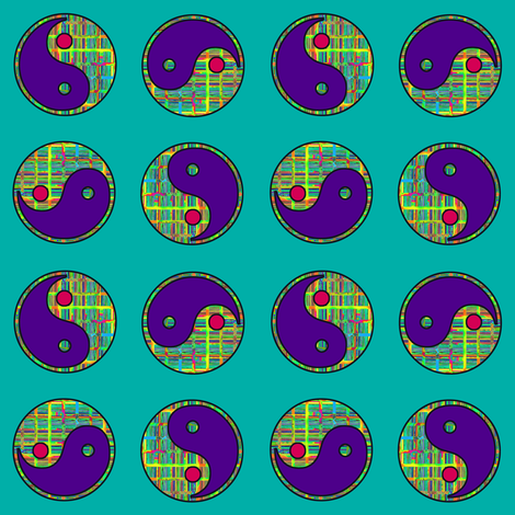 YIN YANG Emerald Turquoise fabric by paysmage on Spoonflower - custom fabric