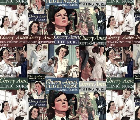Cherry Ames Book Covers fabric by nurseinsomniac on Spoonflower - custom fabric