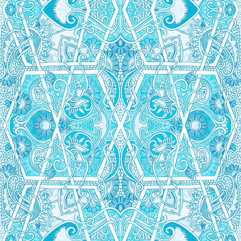 Paisley and Hexagon Blues fabric by edsel2084 on Spoonflower - custom fabric
