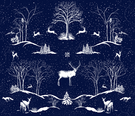 Winter Night Toile Midnight fabric by hollycejeffriess on Spoonflower - custom fabric