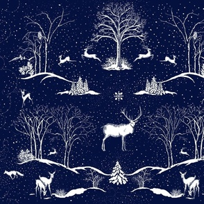 Winter Night Toile Midnight