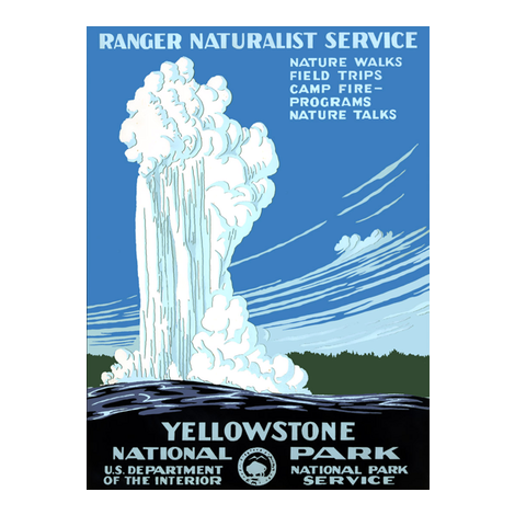 Yellowstone National Park postcard fabric by trizzuto on Spoonflower - custom fabric