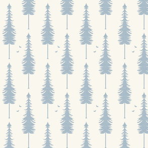 evergreen with birds, slate linen and ivory
