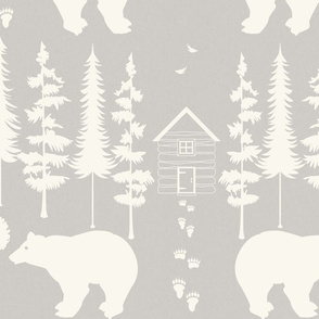 bear in the woods, ivory and sand large