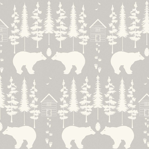 bear in the woods, ivory and sand small