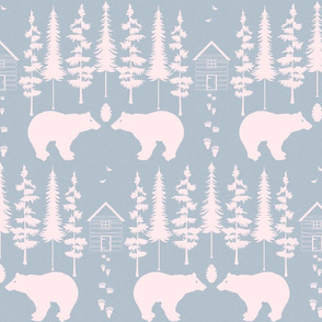 bear in the woods, slate and blush
