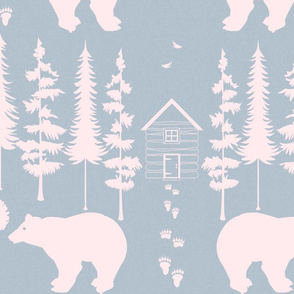 bear in the woods, slate and blush large