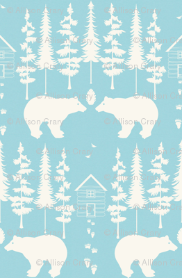bear in the woods, tourquise and ivory large