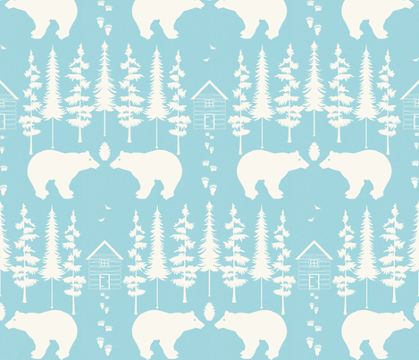 bear in the woods, tourquise and ivory large fabric by allison_crary on Spoonflower - custom fabric