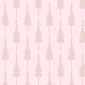 evergreen with birds, blush
