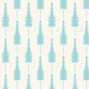 evergreen with birds, ivory and turquise