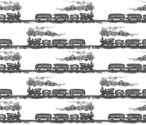 all aboard (black and white) fabric by twobloom on Spoonflower - custom fabric