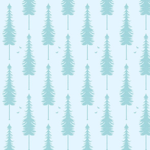 evergreen with birds, light blue and turquoise