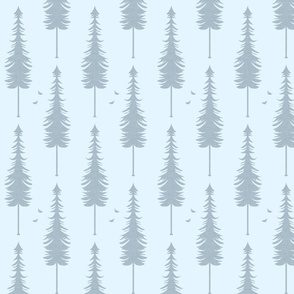 evergreen with birds, slate linen and light blue