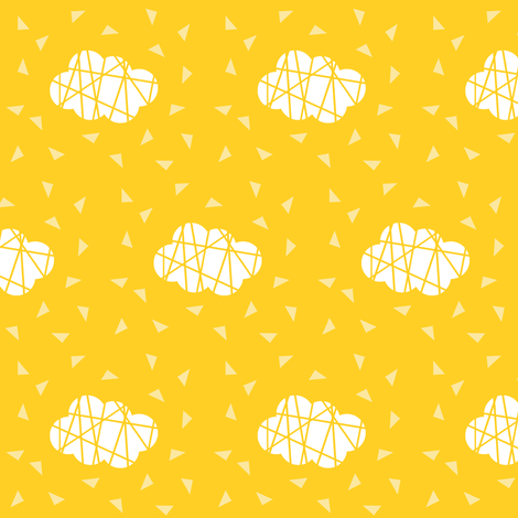 white clouds on yellow fabric by pencilmein on Spoonflower - custom fabric