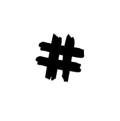 black hashtag on white