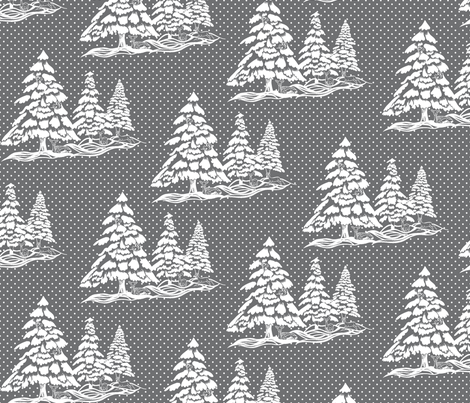 Winter_Time_Toile_with_Snow_new_7070707_grey fabric by house_of_heasman on Spoonflower - custom fabric