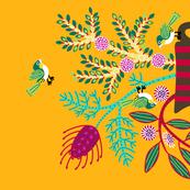 Wildflowers and silvereyes tea towel