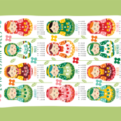 2018 tea towel calendar - Russian dolls