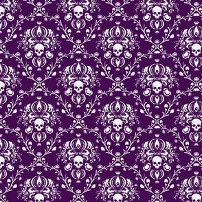 White and Purple Skull Damask