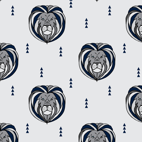 Lion // navy and grey fabric by littlearrowdesign on Spoonflower - custom fabric