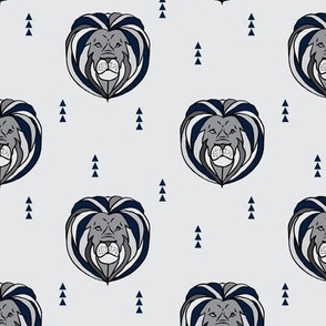 Lion // navy and grey