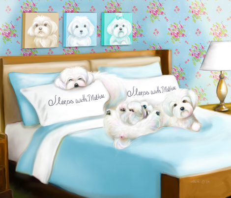 Sleeps with Maltese Quilt Panel fabric by catialee on Spoonflower - custom fabric