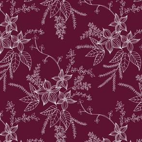 Holiday Vintage Flowers in Burgandy