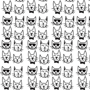 4 cats_black and white