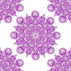 fortune mandala purple #9f00b2 white ground