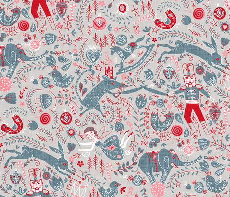 The Nutcracker (in Slate) MED fabric by nouveau_bohemian on Spoonflower - custom fabric