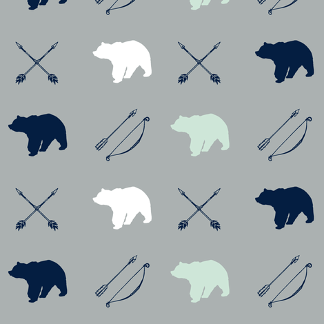 Bear and Arrows // Northern Lights fabric by littlearrowdesign on Spoonflower - custom fabric