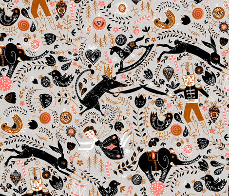 The Nutcracker (in Jet) MED fabric by nouveau_bohemian on Spoonflower - custom fabric