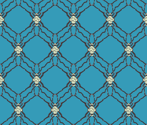 Gothic Vines over Blue fabric by jabiroo on Spoonflower - custom fabric
