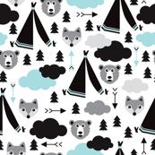 geometric teepee tent fox arrows and woodland scandinavian bear illustration pattern in blue