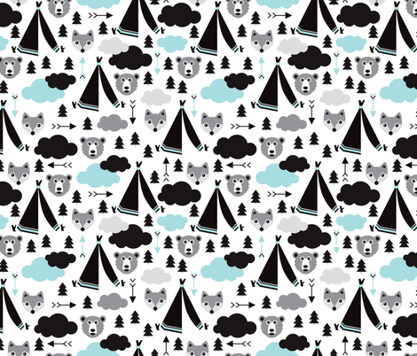 geometric teepee tent fox arrows and woodland scandinavian bear illustration pattern in blue fabric by littlesmilemakers on Spoonflower - custom fabric