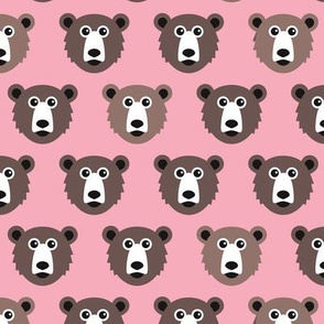 Cute pink retro style grizzly winter bear illustration pattern