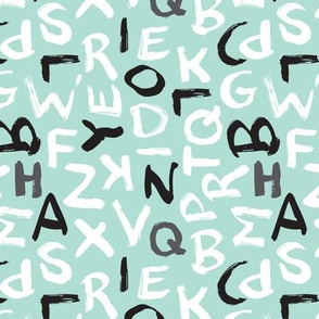 Raw brush abc alphabet blue pastel pattern