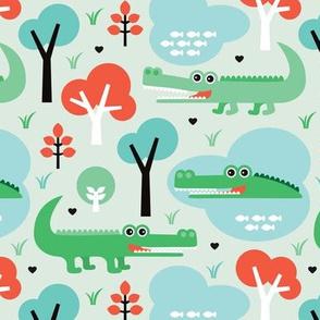 Cute colorful crocodile alligator jungle zoo adventure illustration pattern