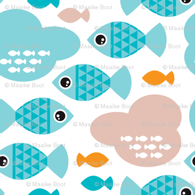 Baby blue water ocean life bubble fish illustration