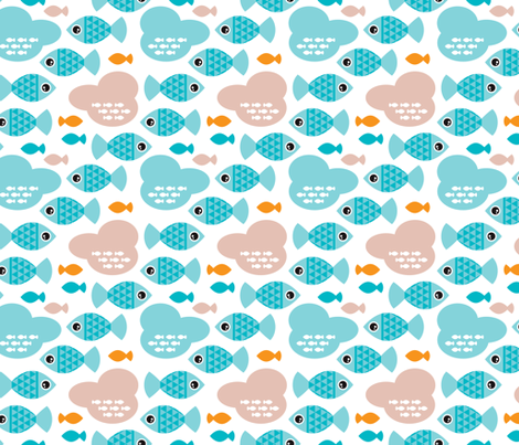 Baby blue water ocean life bubble fish illustration fabric by littlesmilemakers on Spoonflower - custom fabric