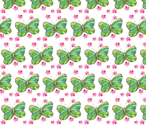 Green Butterflies  fabric by countrygarden on Spoonflower - custom fabric