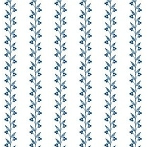 Berry Small Vines ~ Lonely Angel Blue and White