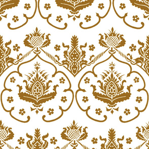 Gothic Damask ~ Cologne ~ Gold and White