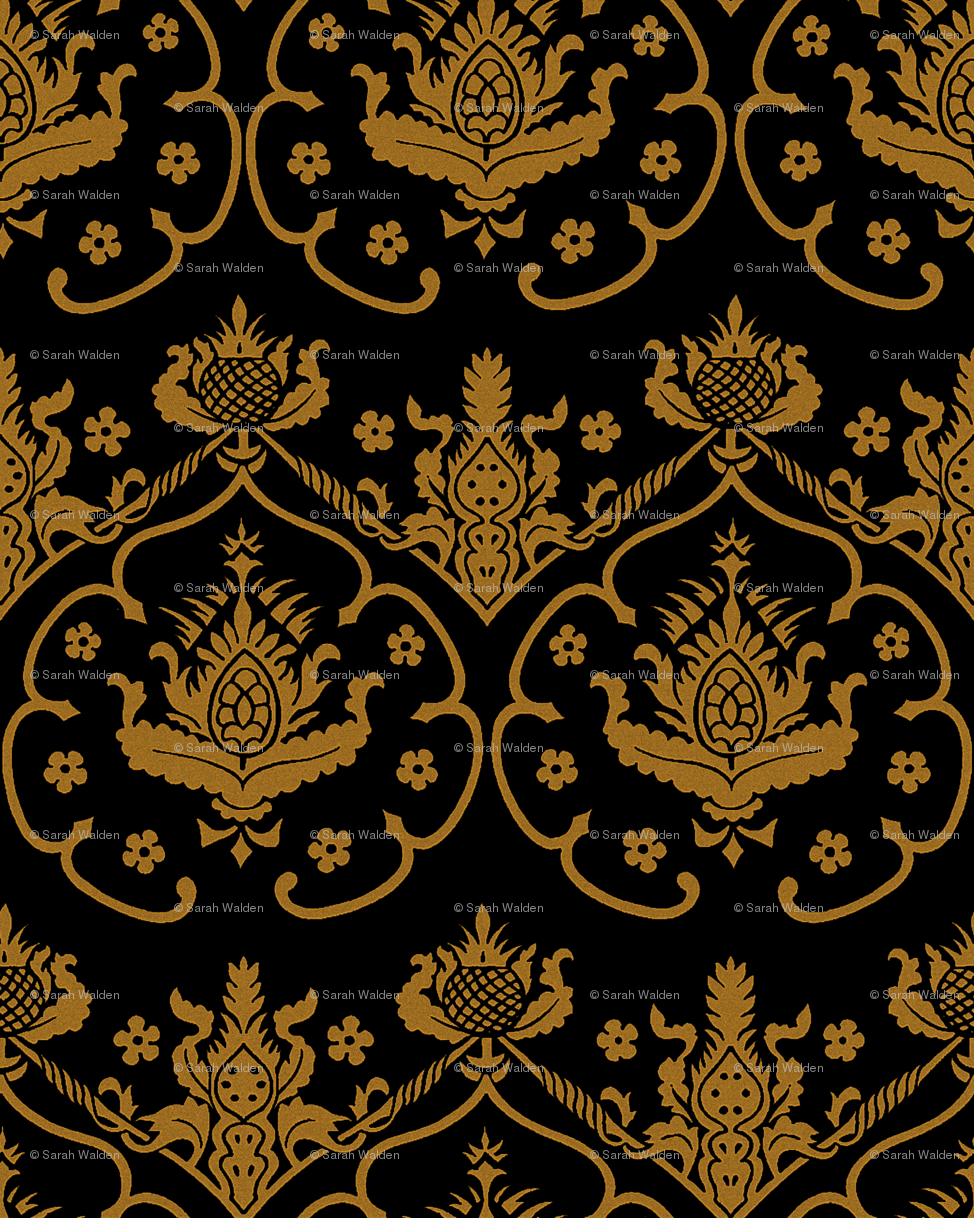 Gothic Damask Cologne Gold And Black Wallpaper