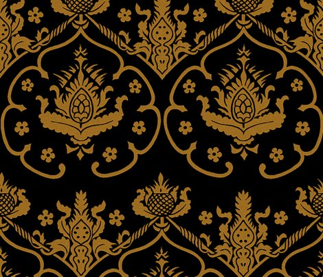 Gothic damask cologne gold and black fabric for Black gold wallpaper designs