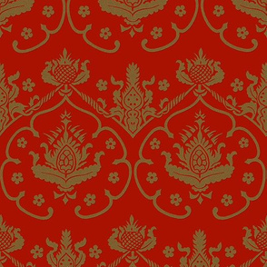 Gothic Damask ~ Cologne ~ Gold Embroidery on Turkey Red (Adrianople)